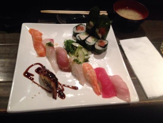 Yummy Sushi : Mixed sushi main course and calamari appetiser.