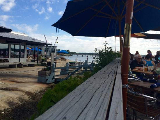 Hudson S Seafood House On The Docks View Of Water And Restaurant From Outside