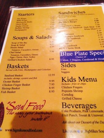 Mike S Soul Food Menu