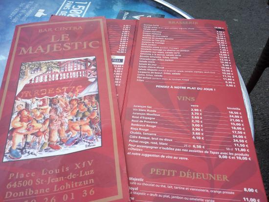 carte saint jean de luz La carte   Picture of Le Majestic, Saint Jean de Luz   Tripadvisor