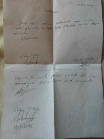White Lilyum Hotel: акт оплаты ущерба