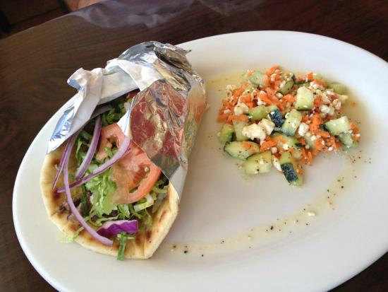 Lamb gyro with cucumber salad picture of red fish grill for Red fish grill