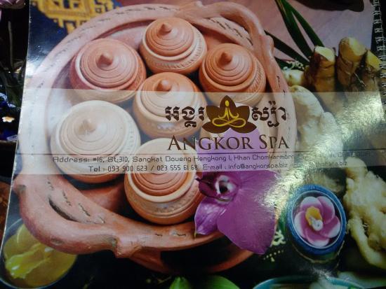Angkor Spa: menu