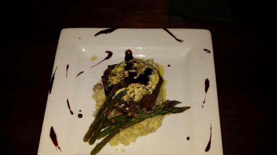 Ellsworth, ME: Top Sirloin w/ parsnip mashed potatoes & grilled asparagus