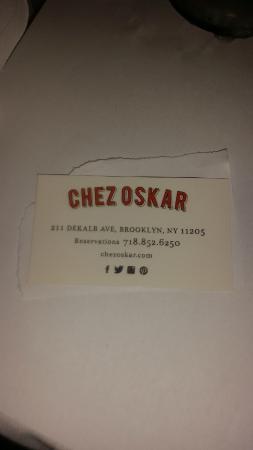 Chez Oskar: Their business card