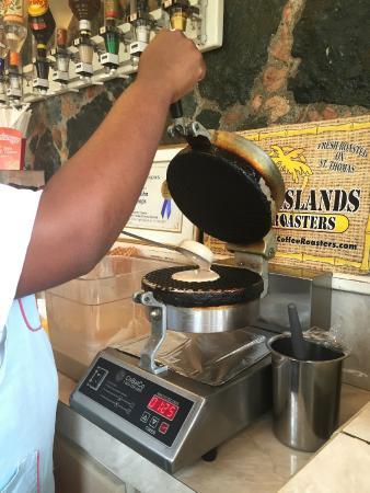 St John Scoops : St. John Scoops freshly made waffle cones. Delish!