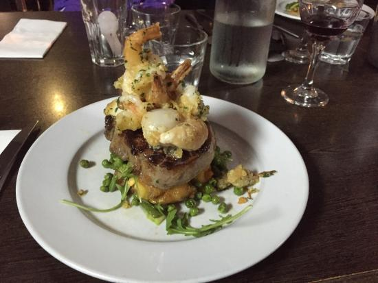 Bella Bellissimo: Magnificent Rib Eye steak with Prawns and Scallops.