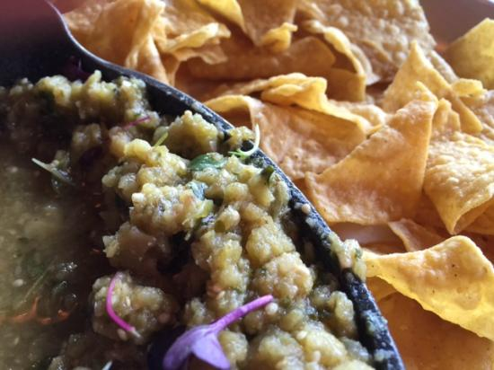 Hilltop Kitchen : Homemade tomatillo salsa and chips