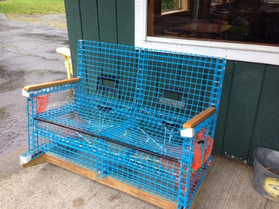 Family Fisheries Restaurant & Take Out: Rocking chair made of lobster traps.
