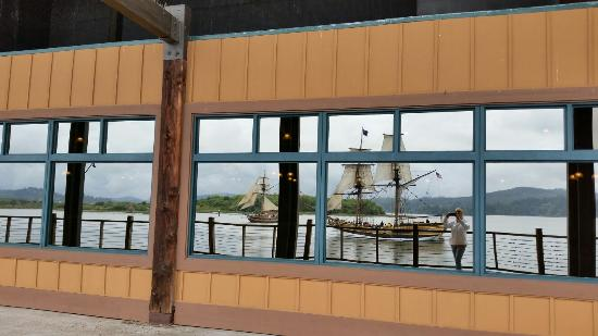 The tall ships reflected in the Mill Casino windows. Nice place to stay and play on the bay.