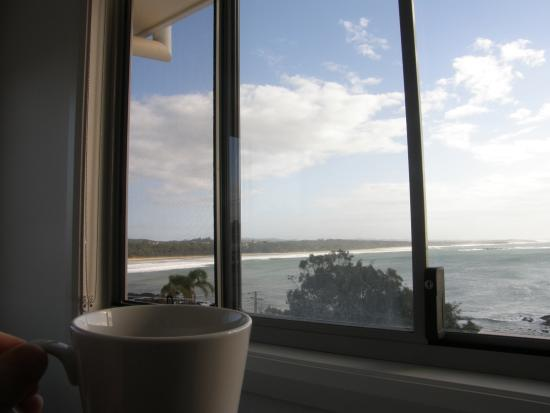 Solitary Islands Lodge: view from the room while enjoying a cuppa
