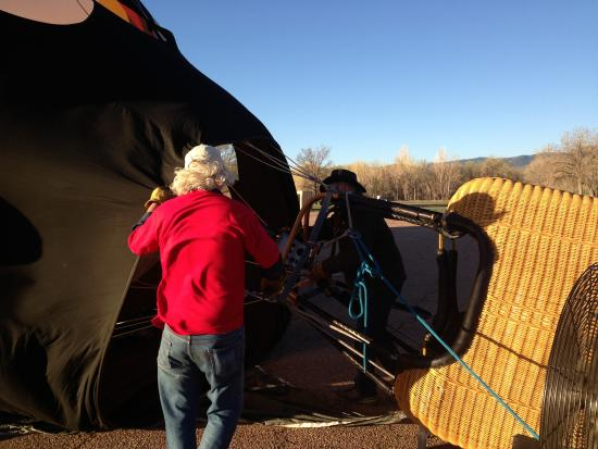 Rocky Mountain Hot Air: The balloon si being inflated