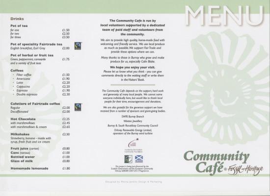 Burray Village, UK: cafe menu - cover