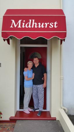 Andy and Nicky outside Midhurst. Love the trousers.