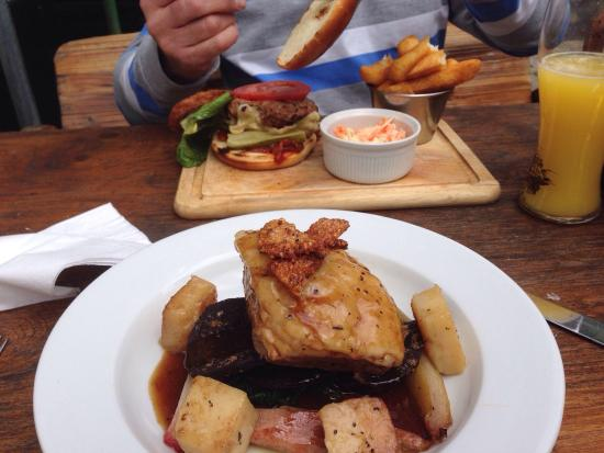 The Royal Oak: Pork belly with beetroot and spinach