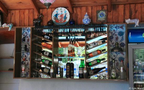 Yakamoz Hotel: New shelving behind the poolside bar