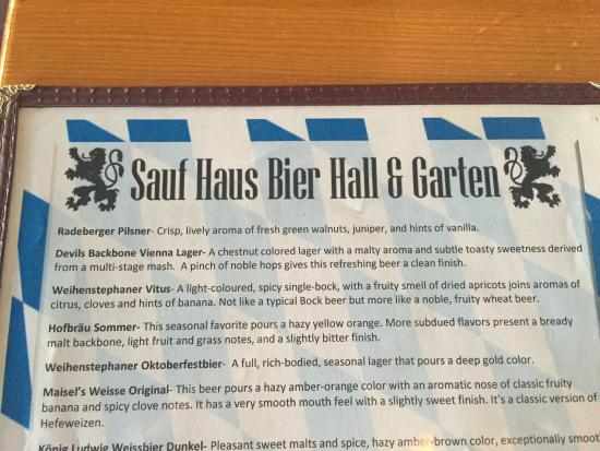 Outside Beer Menu  Picture Of Sauf Haus Bier Hall  Garden