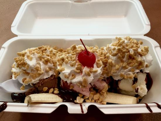 Island Ice Cream: Banana Split - opted for hot fudge instead of pineapples.