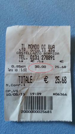 Castellazzo Bormida, Italia: scontrino pasticceria 30 euro al Kg