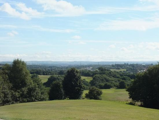 Bury, UK: View to Oldham & the Pennines from Heaton Park