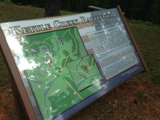 Kettle Creek Battlefield: Map of the battlefield - at the top of War Hill