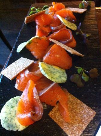 "Restaurante Salambo: ""Home-Smoked"" Salmon with dill butter"