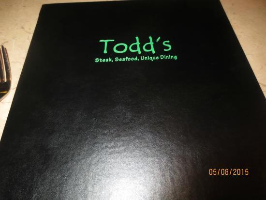 Todd's Unique Dining: menu cover