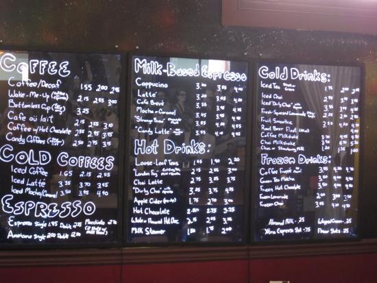 The menu at Strange Brew