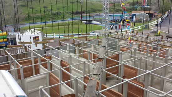 Miner's Maze Adventureland: The view of the first level of the ropes course from where you start.