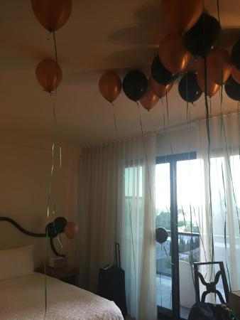 Mondrian Los Angeles Hotel Room With Balloons They Placed For Me