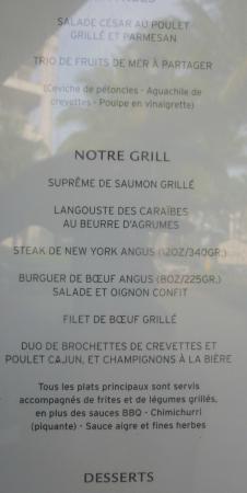 Hotel Riu Palace Riviera Maya: Le menu du CHILIS pour le souper. Délicieux.