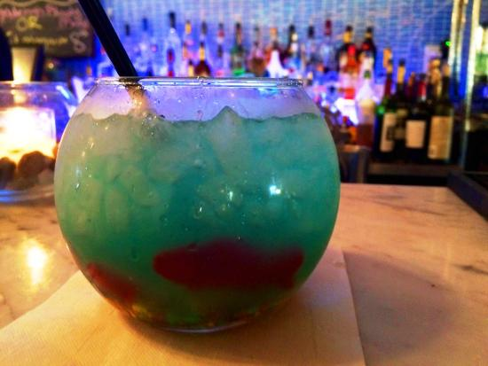 Blue margarita fish bowl picture of fat tuna grill for Fishing in williamsburg va