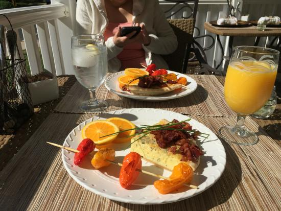 Saltwater Inn: Joyce's quiche and fresh herb, bacon crumbbles, skewered sweet peppers, and orange slices