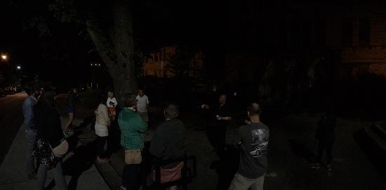 Haunted Asheville Ghost Tours: Group shot near church