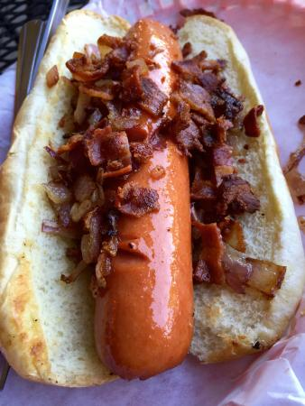 Buster's Burgers and Brew: Bacon & Grilled Onion Dog