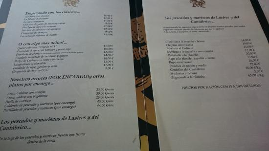 Lastres, Spain: carta