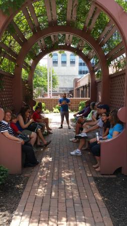 Free and Friendly Tours : Caleb talking at the Benjamin Franklin Printing Shop