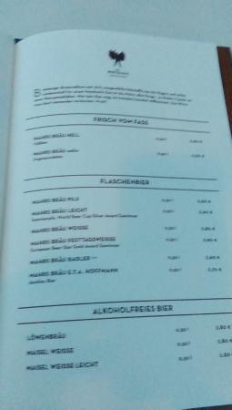 Mahrs Bräu: Beer menu