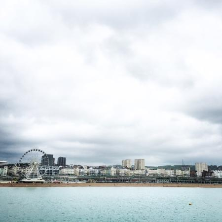 Red Brighton Blue : A View from the Pier towards the Brighton Pavillions