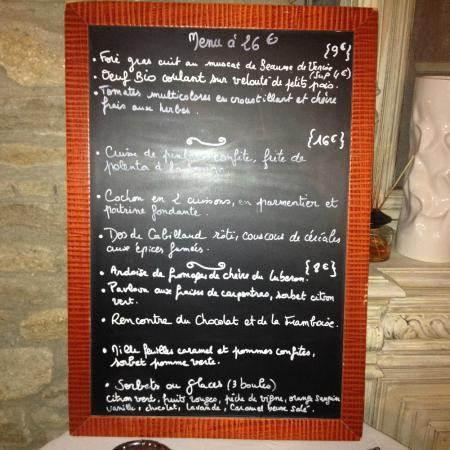 Islo: Le tableau présentant le menu à 26 euros
