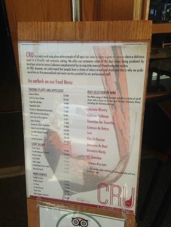 Cru Wine Bar: menu in general