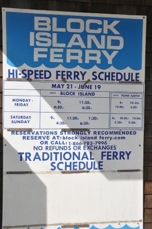 Block Island Ferry: Schedule