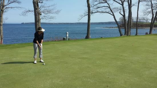 Rockport, ME: The 15th green - it hard to concentrate on the golf surrounded by such grandeur