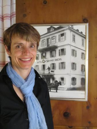 Hotel Weiss Kreuz: The lovely, gracious, helpful hostess Nicole!