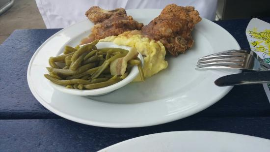 Monday blue plate special fried pork chop with garlic mashed