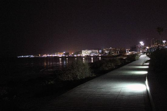 low level night lighting on the boarded walkway picture of