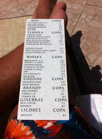 Emporio Hotel & Suites Cancun: Back of Drinks Menu