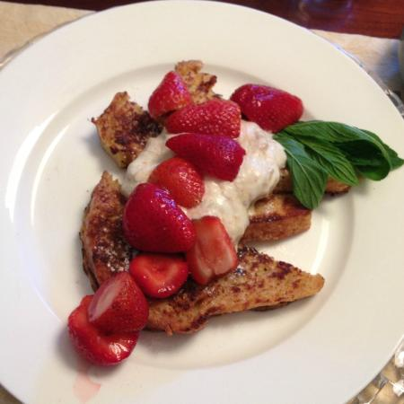 The Caversham House: French toast and rhubarb fool.