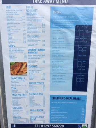 Charmouth Fish Bar and Pizzeria: Menu. Busy during holidays.