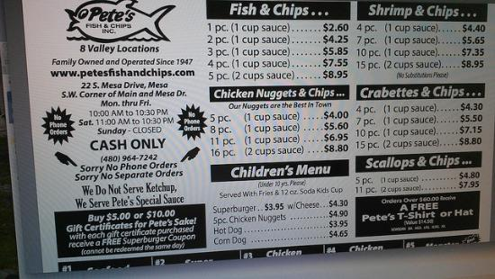 Menu 3 picture of pete 39 s fish chips mesa tripadvisor for Petes fish and chips